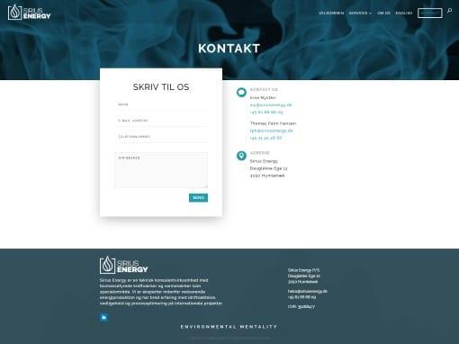 Hjemmeside til virksomhed - kontaktsiden